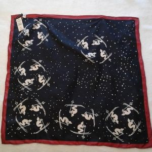 Talbots vintage pure silk scarf black white red